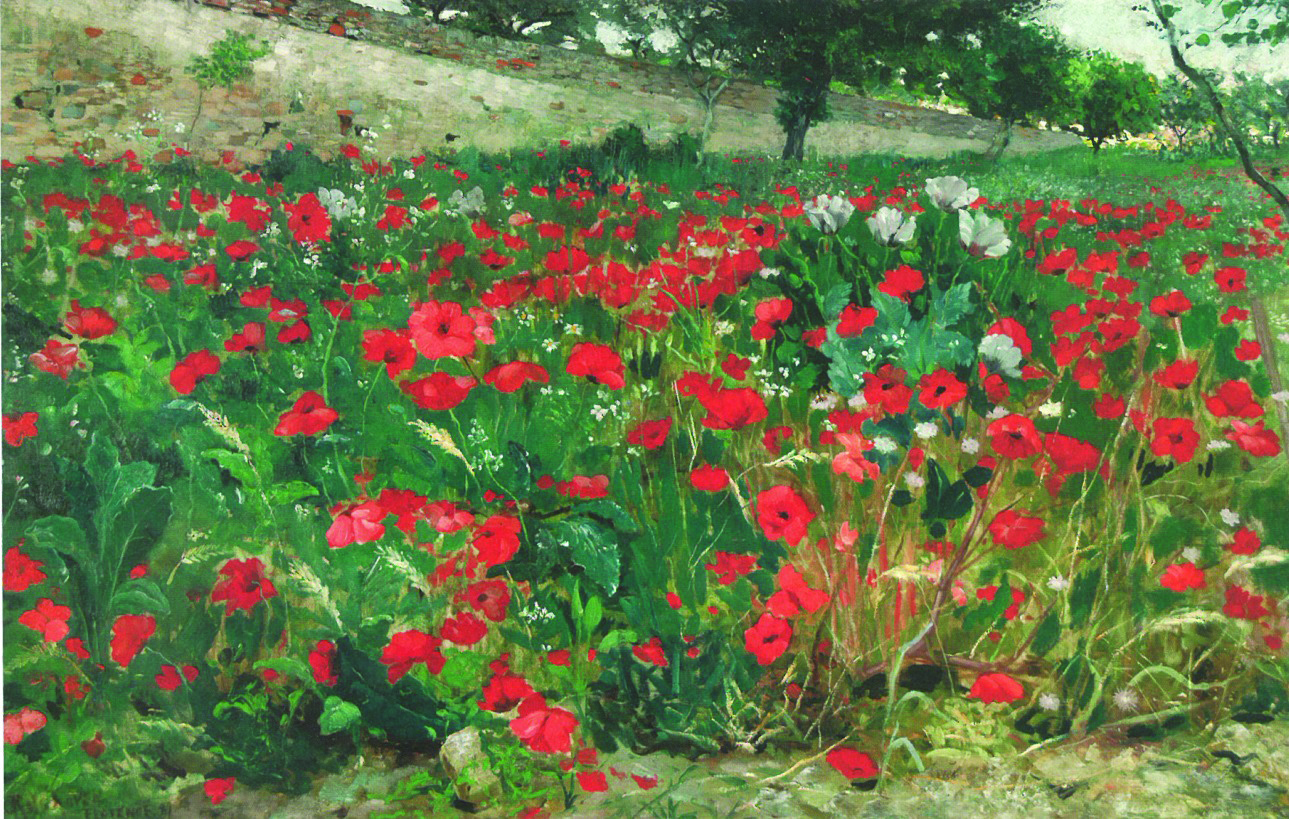 Painting by Julius Rolshoven of a field of poppies with green hills in the background.