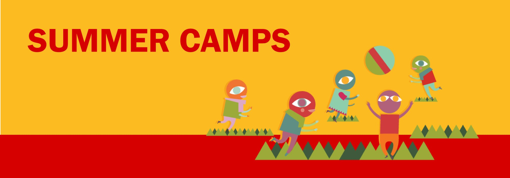 "Cartoon monsters play in a yellow and red background. Text reads ""Summer camps"""