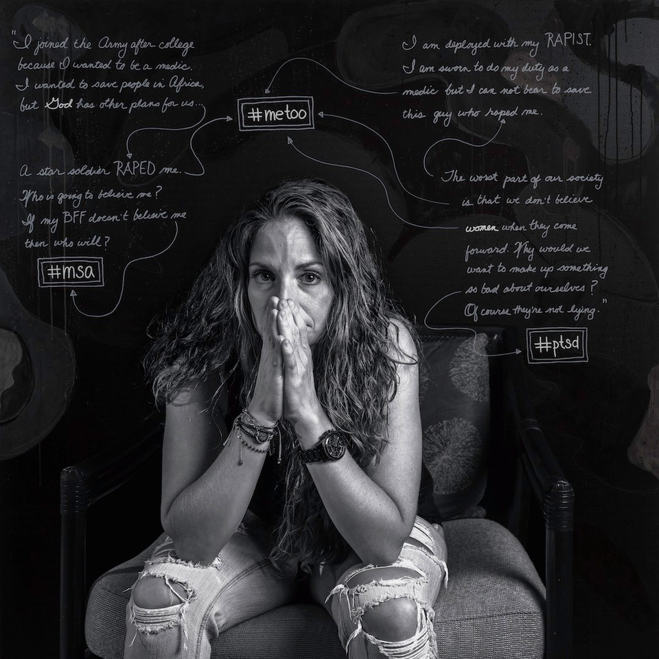 Black and white photo of women in ripped jeans sits with hands on face and eyes towards viewer, while handwritten thoughts are around her. Including #metoo, God, #ptsd, and #msa.
