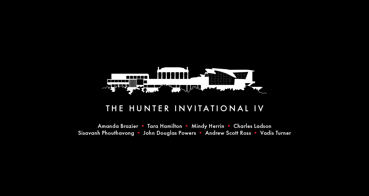 """White outline of the Hunter Museum with the text, """"The Hunter Invitational IV."""""""