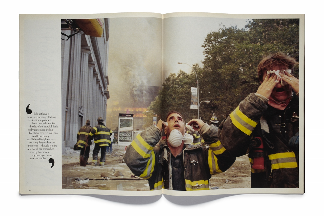 An open book with a quote on the side. An image of firefighters and rubble is the focus.