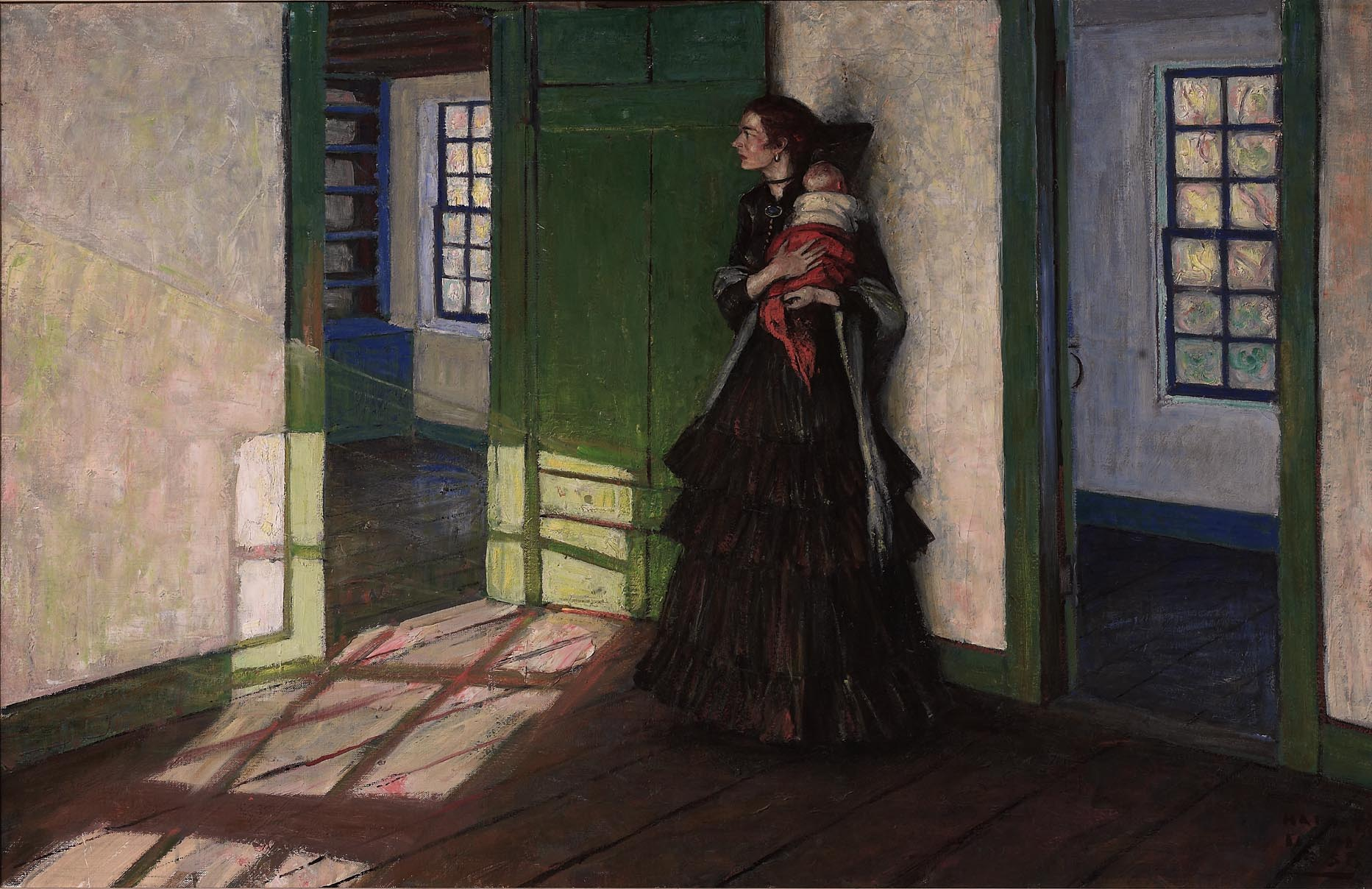 A woman in an empty house wearing a dark dress clutching a baby to her shoulder.