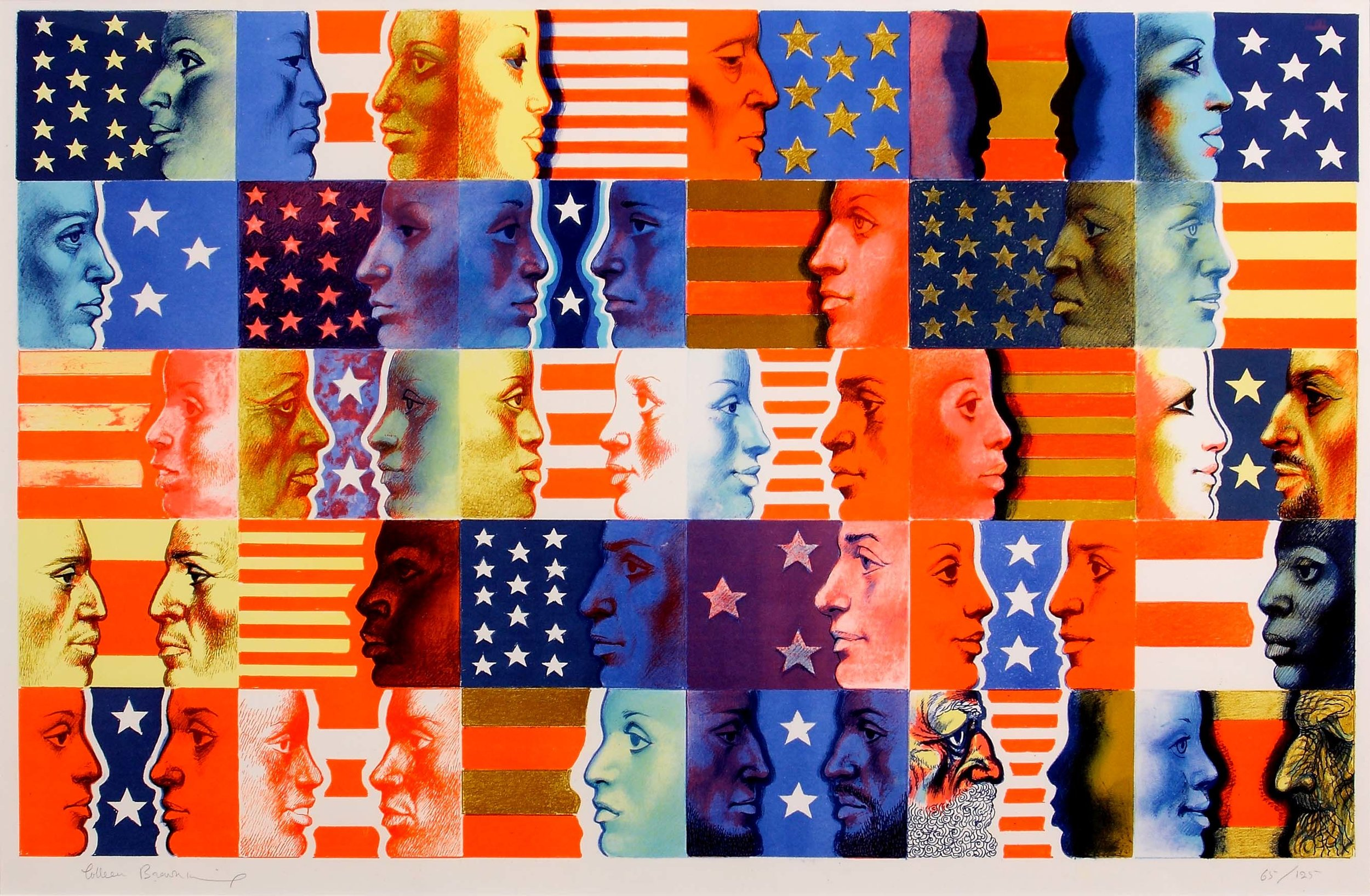 The sides of different faces in squares against stars and stripes.
