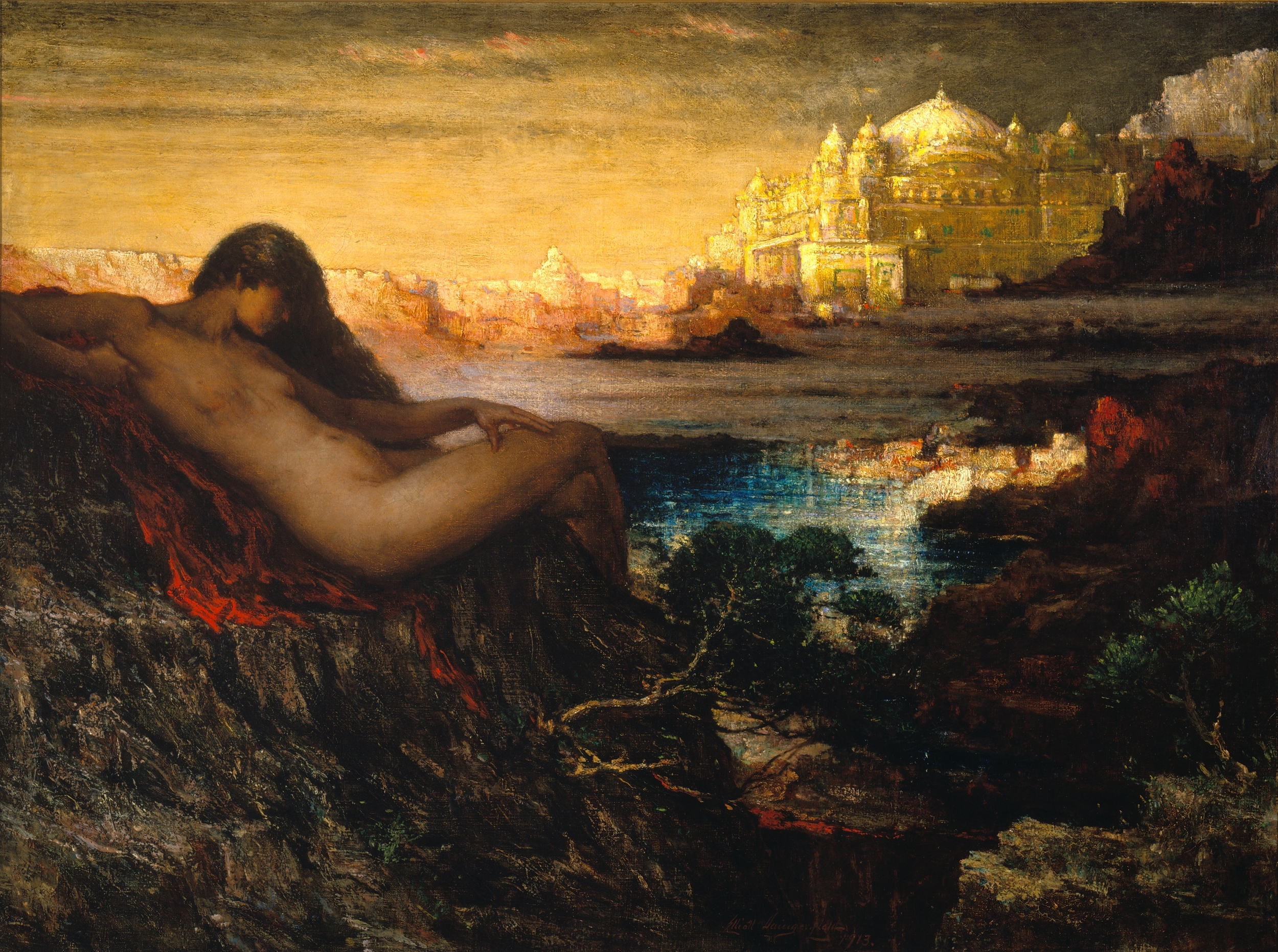 A naked woman on a dark hillside with a golden castle in the background.
