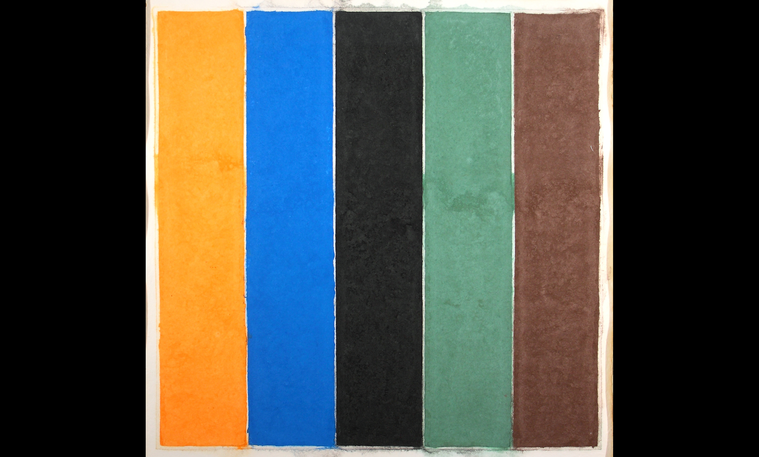 Two thick black rectangles on either side of colorful rectangles in a row.