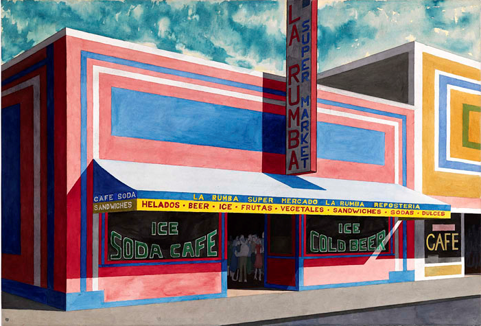 A print of a storefront with people crowded inside.