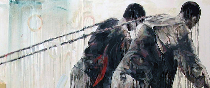Painting of two people with ropes pulled over their shoulders. Paint drips off them.