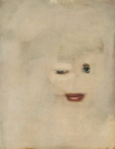 Beige background with a eyes and red lips. The face is winking.